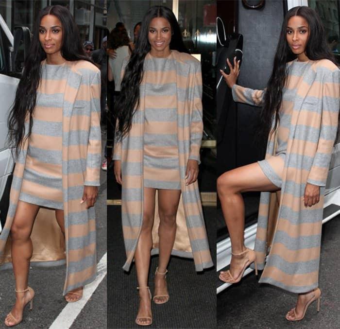 Ciara wearing astriped shift dress