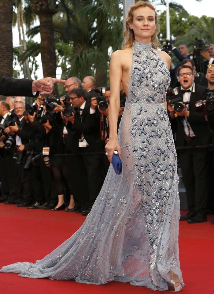 Diane Kruger in Glamorous Embellished Prada Halter Gown