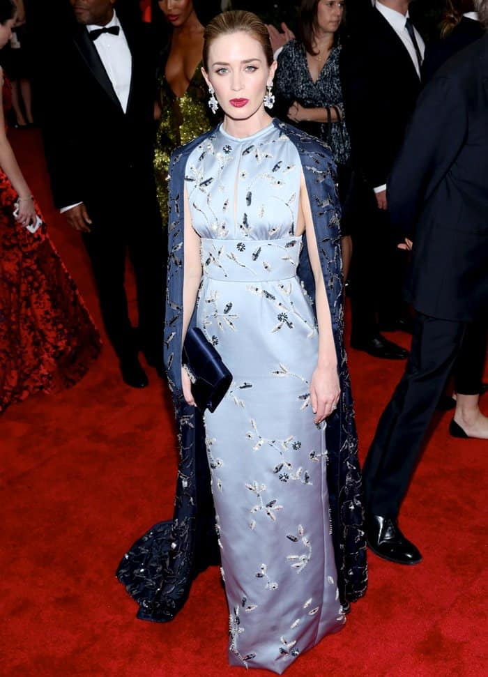 Emily Blunt at the 2015 Met Gala held at the Metropolitan Museum of Art in New York City on May 4, 2015