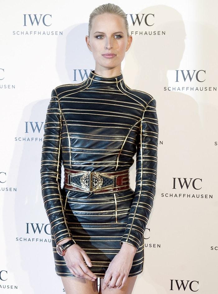 Karolina Kurkovain a Balmain gold lurex striped leather dress