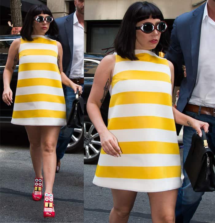 Lady Gaga wearing a striped shift dress