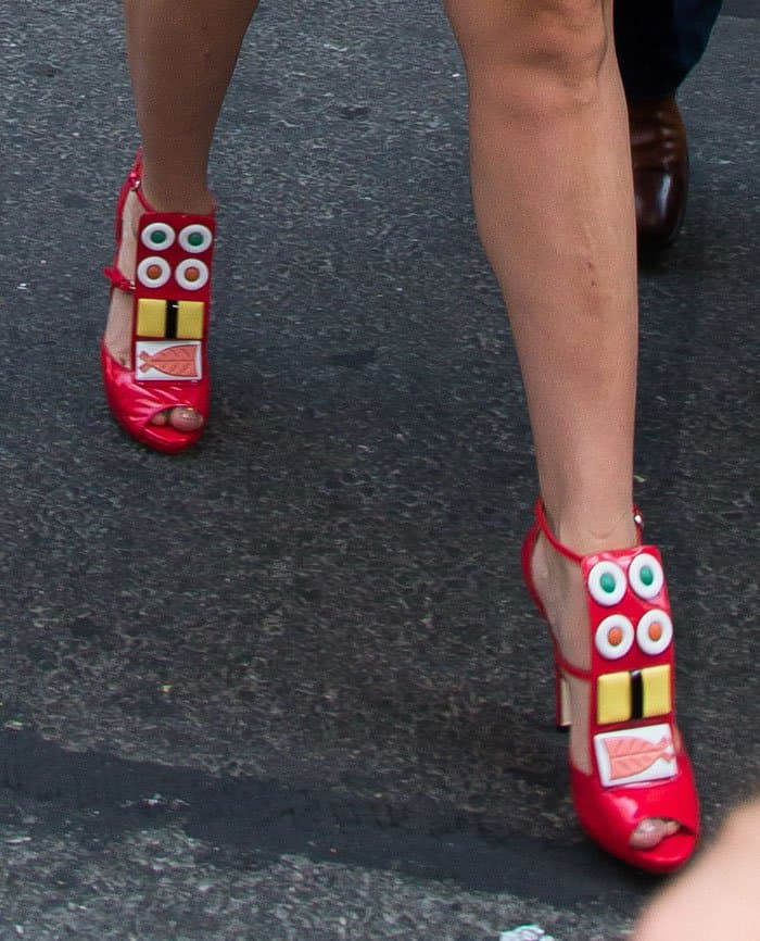 Lady Gaga styled her dress with sushi-embellished heels