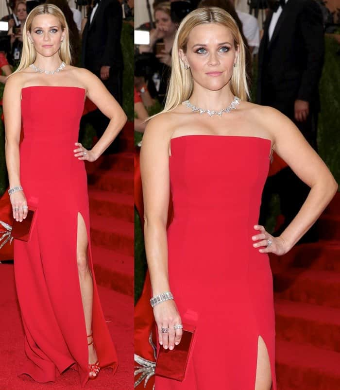Reese Witherspoon at the 2015 Met Gala held at the Metropolitan Museum of Art in New York City on May 4, 2015