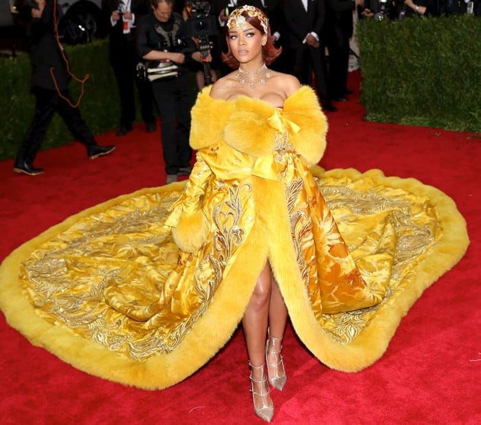 Rihanna at the 2015 Met Gala held at the Metropolitan Museum of Art in New York City on May 4, 2015
