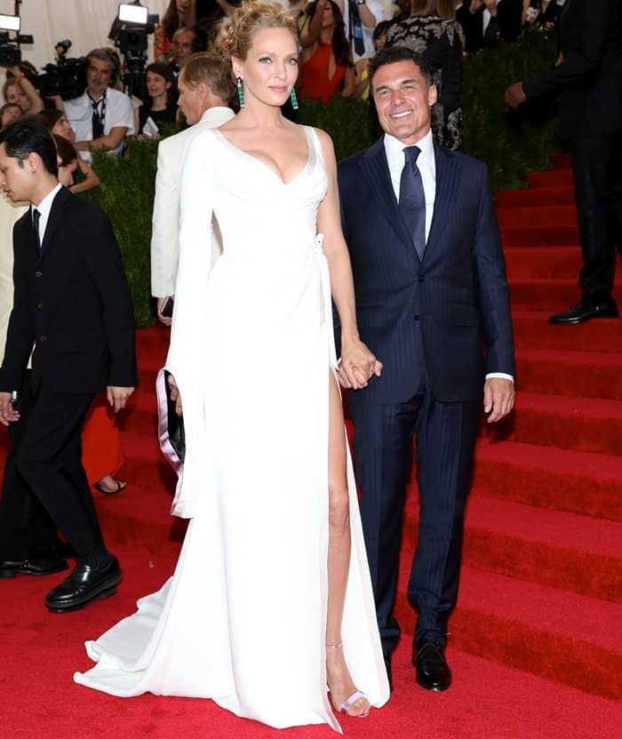 Uma Thurman and Andre Balazs at the 2015 Met Gala held at the Metropolitan Museum of Art in New York City on May 4, 2015