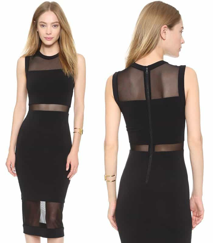 AIR by Alice + Olivia Fitted Sheer Inset Dress