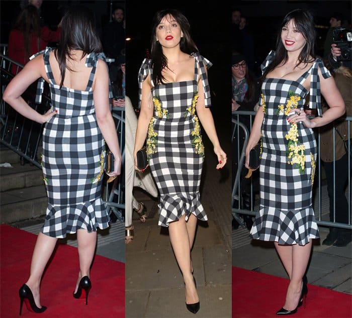Daisy Lowe oozed sexiness in a form-fitting floral and gingham Dolce & Gabbana dress