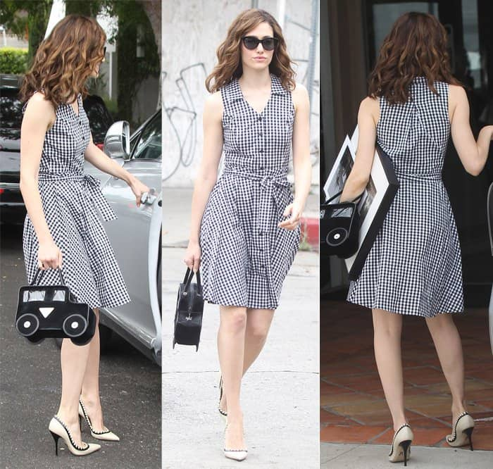 Emmy Rossum looking casually chic in a gingham shirt dress