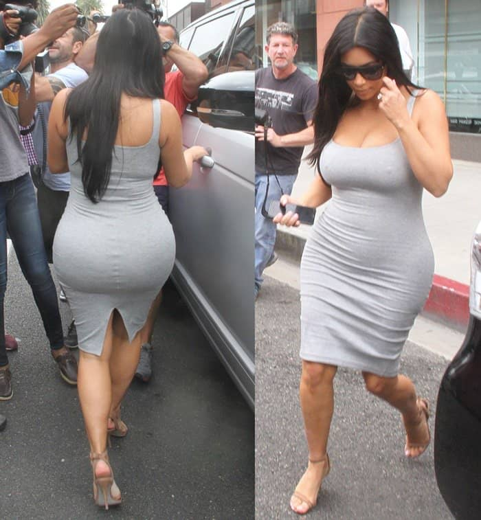 Kim Kardashian leaves Anastasia Beverly Hills Salon in a clingy grey dress in Los Angeles on June 12, 2015