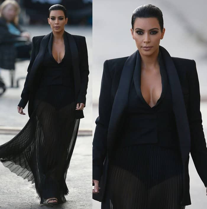 Kim Kardashian arriving for Jimmy Kimmel Live! at ABC Studios in Los Angeles on April 30, 2015