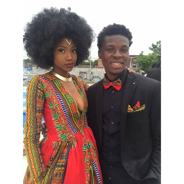 Kyemah McEntyre in coordinated outfits with her prom date