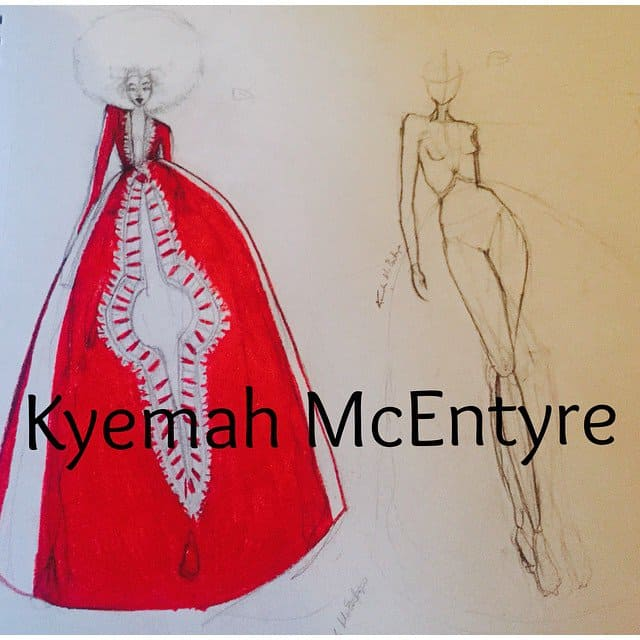 Kyemah's sketch of her internet-breaking prom dress