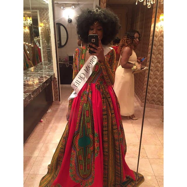 Kyemah wearing her Prom Queen sash