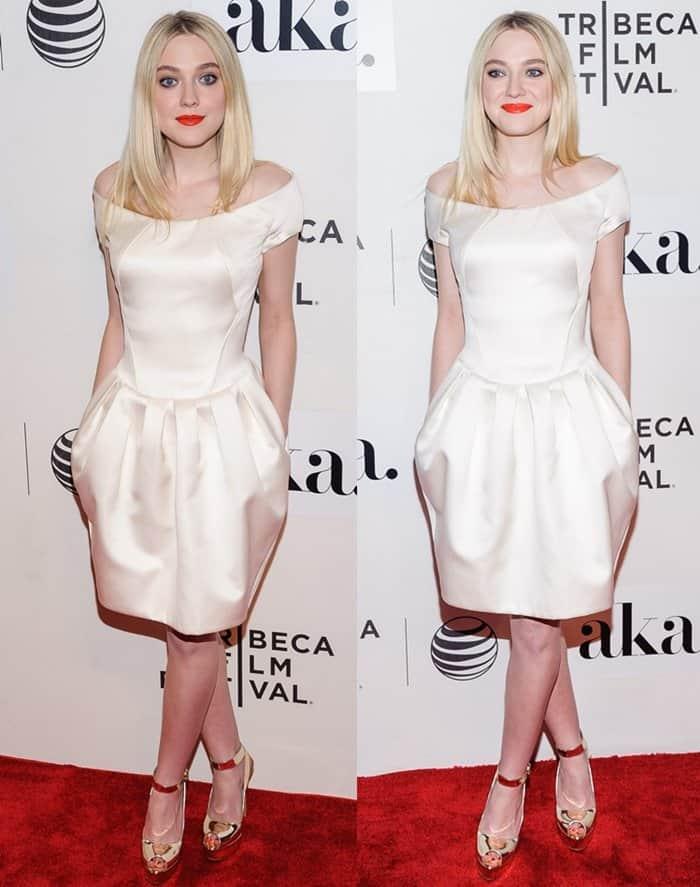 Dakota Fanning looked lovely in a white spring dress from Zac Posen