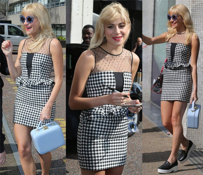Pixie Lott flaunted her curves in a peplum gingham dress with a pencil skirt