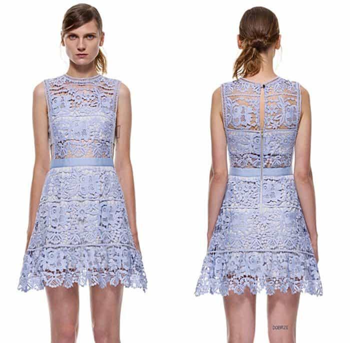 Self Portrait Lace Peplum Mini Dress