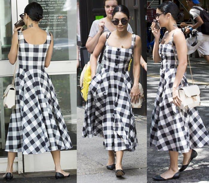 Vanessa Hudgens looked feminine in a retro Dolce & Gabbana tea-length dress and black d'Orsay flats