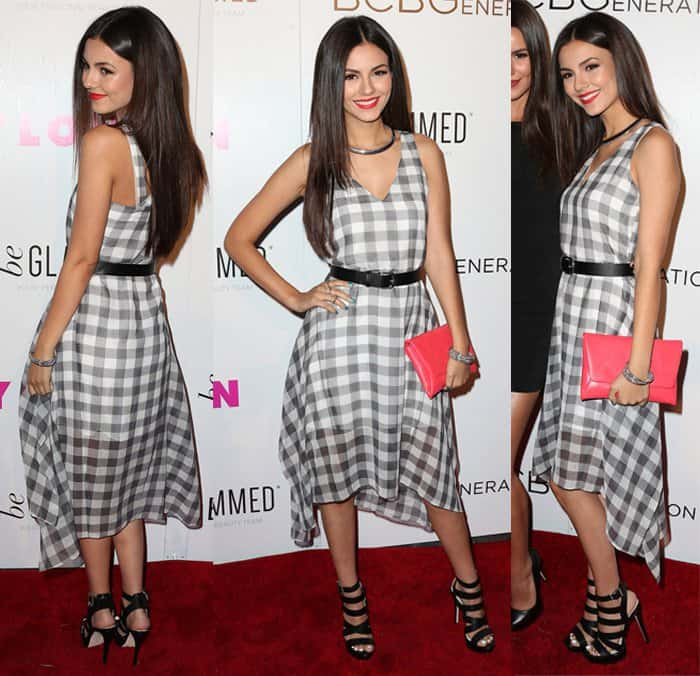 Victoria Justice rocked a sheer gingham dress cinched at the waist with a belt