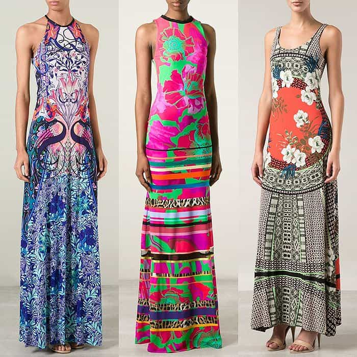 "Mary Katrantzou ""Sirene"" Halter Dress / Roberto Cavalli Printed High-Neck Long Dress / Etro Floral-Print Scoop-Neck Dress"