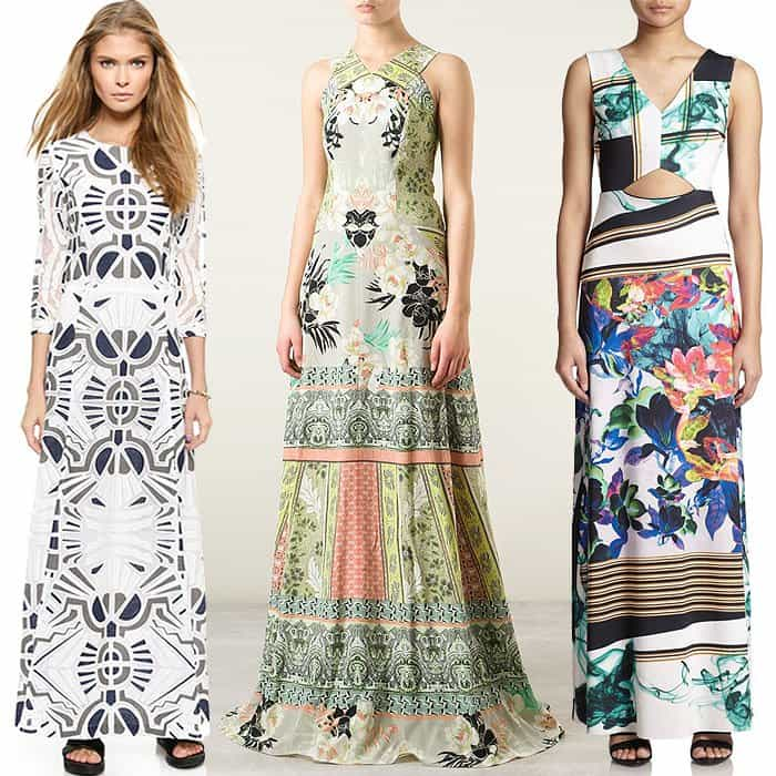 "Sea Long-Sleeve Long Dress / Etro Printed Halter Gown / Clover Canyon ""Liquid Jade"" Cutout Maxi Dress"
