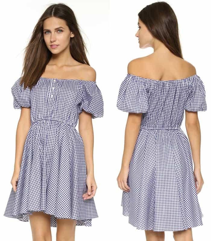 Caroline Constas Bardot Off Shoulder Dress
