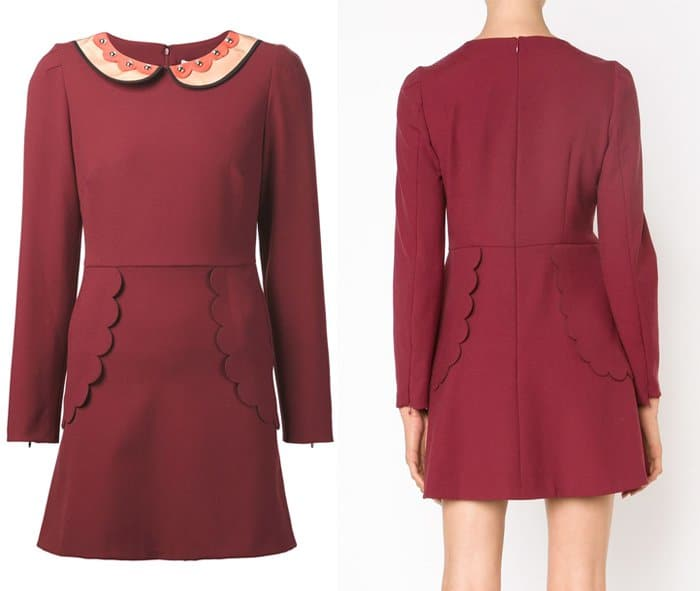 Red Valentino Collar Scalloped Detail Dress