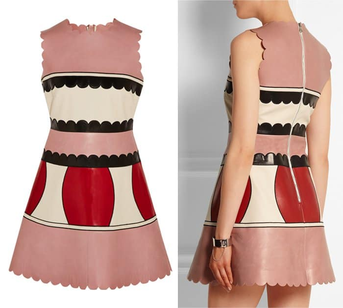 Red Valentino Color Block Leather Mini Dress