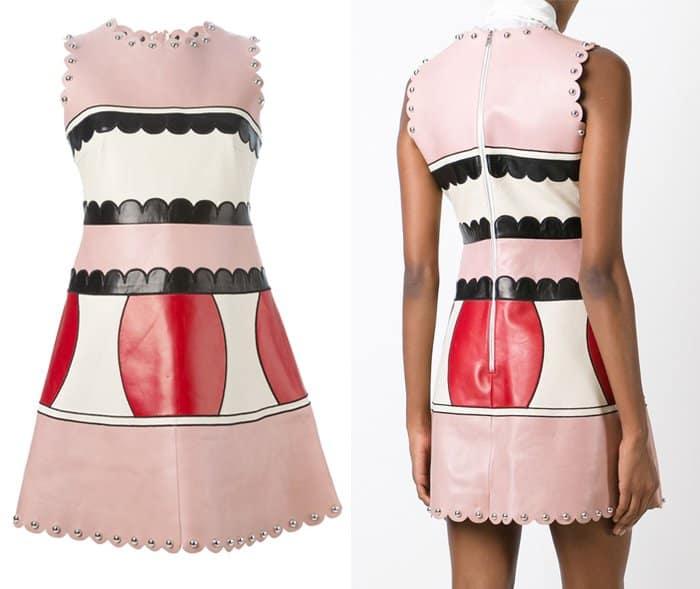 Red Valentino Panelled Scallop Hem Dress