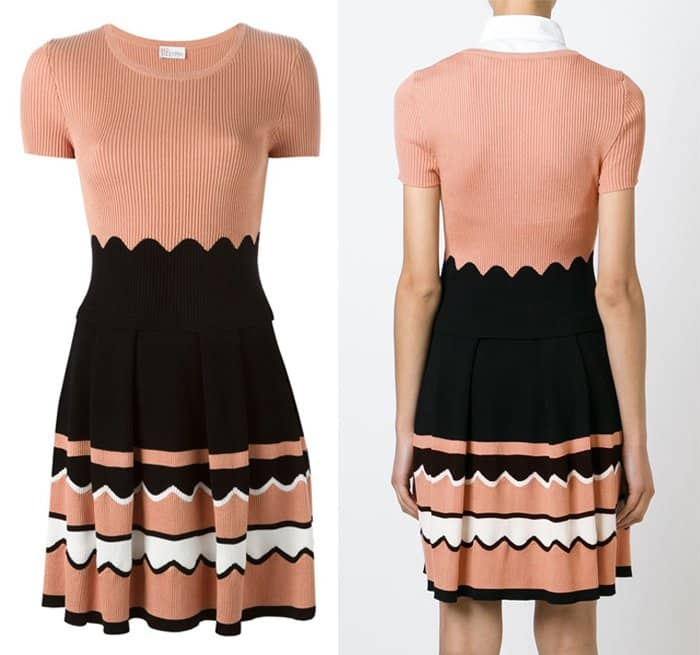 Red Valentino Ribbed Knit Flared Dress
