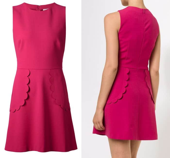 Red Valentino Scalloped Trim Flared Dress