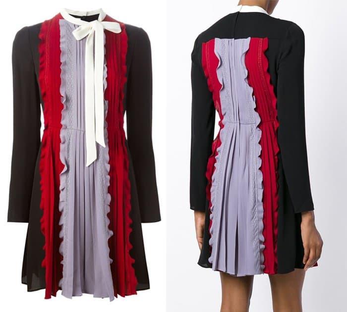 Valentino Pleated and Ruffled Mini Dress