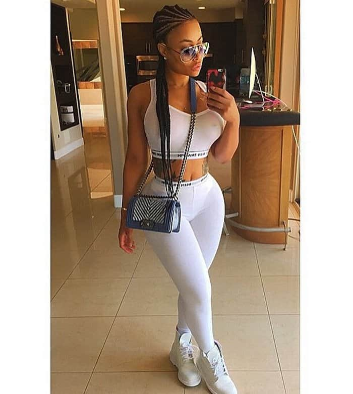 Blac Chyna wore a pretty similar getup in white and also took a mirror selfie for her Instagram followers