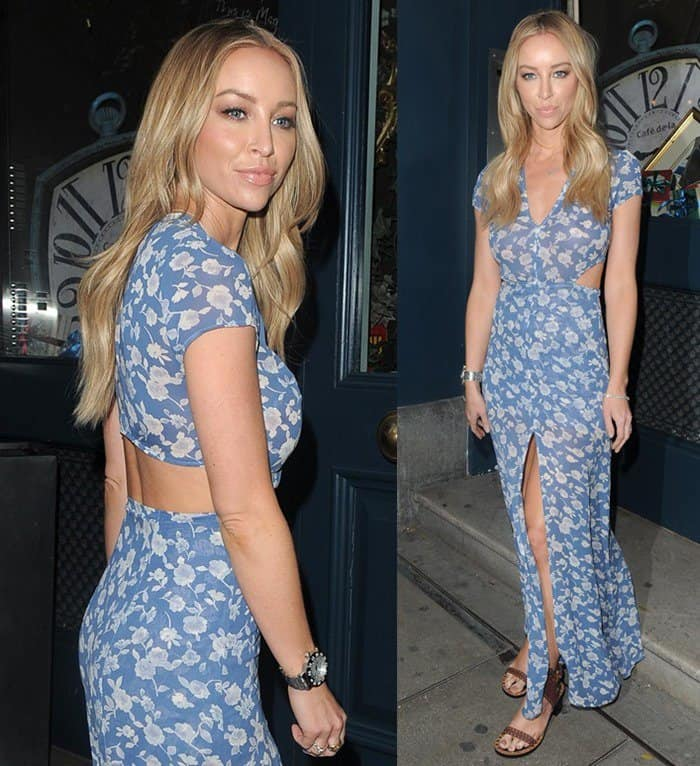 Lauren Pope spotted attending Look of the Day collection launch at the Library Club in London.