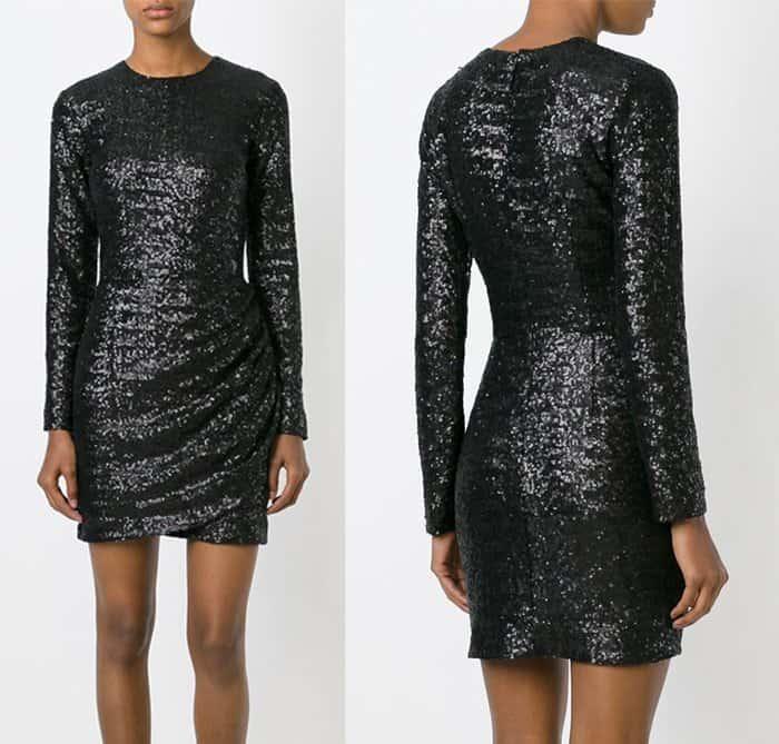 MSGM Sequined Draped Short Dress