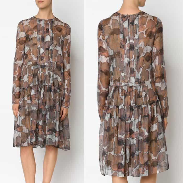 Vera Wang Poppy Print Gauze Dress