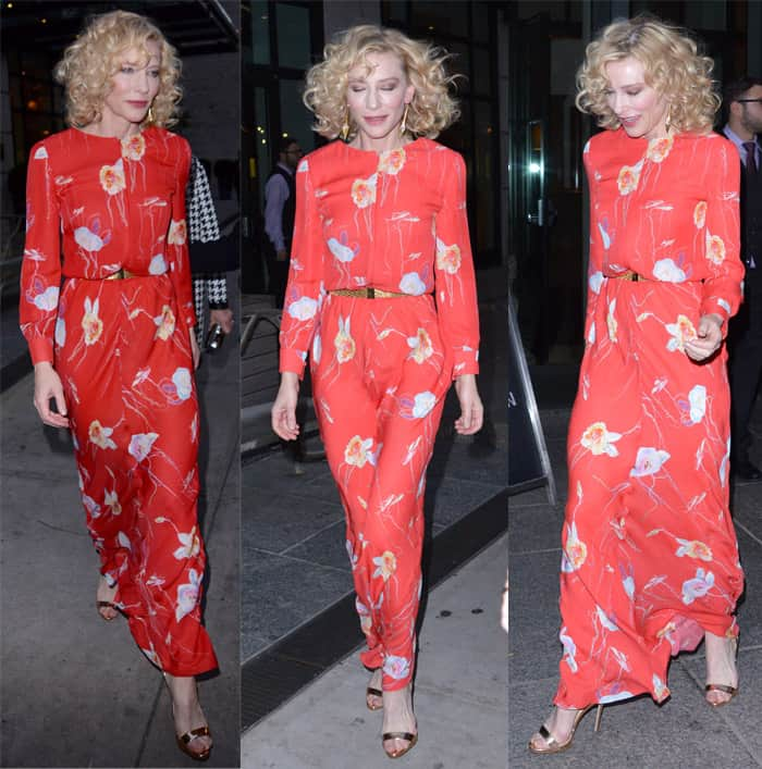 Cate Blanchett rocks a charming retro-style floral dress while leaving her New York hotel