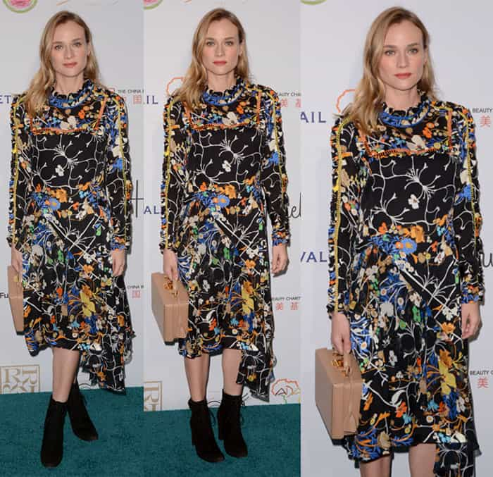 """Diane Kruger styled her floral dress with a nude Marc Cross """"Grace"""" large box trunk bag"""