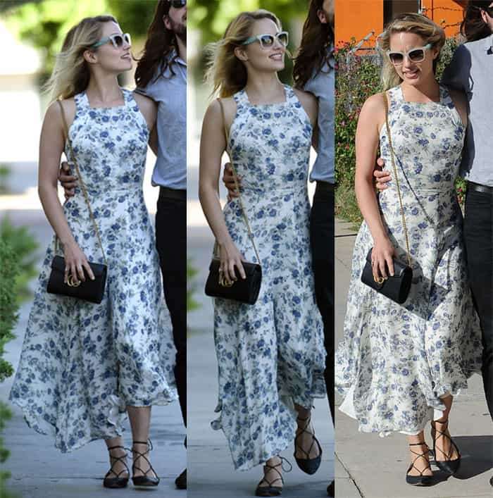 Dianna Agron styled her flattering maxi floral dress with a chain strap purse