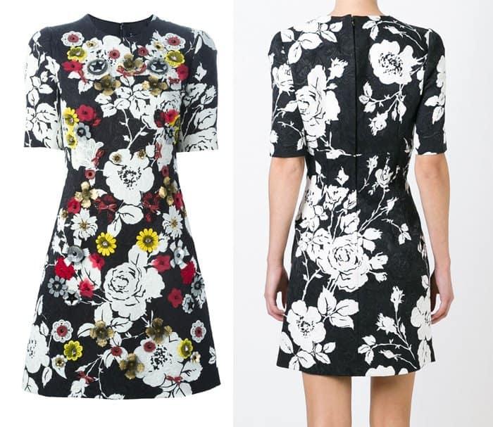Dolce & Gabbana Floral Applique Brocade Dress