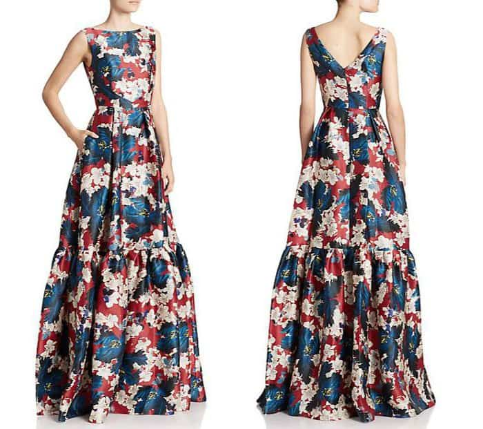 Erdem Alouette Tiered Floral Silk Gown