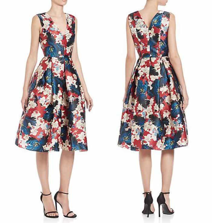 Erdem Loren Pleated Floral Silk Dress