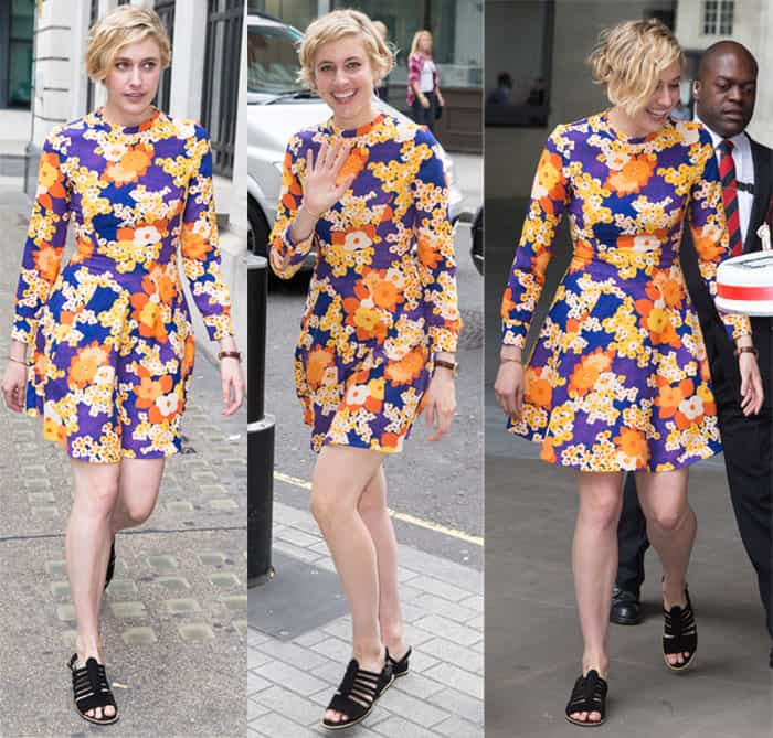 Greta Gerwig flaunts her legs in Carven's colorful 60s style dress while arriving at the Radio 1 studios