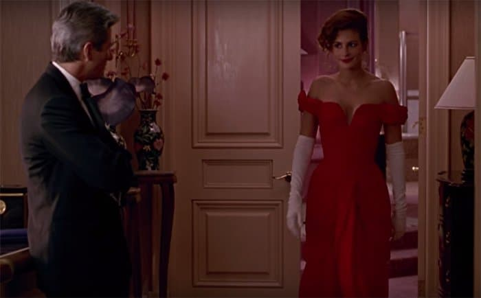 Julia Roberts's red gown was designed by film costumer Marilyn Vance