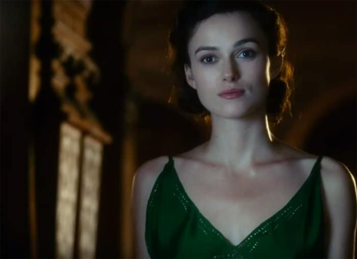 Keira Knightley as Cecilia in the sweeping green gown by Jacqueline Durran