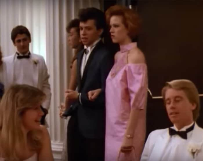 Molly Ringwald's puffy-sleeved polka dot prom dress in Pretty in Pink