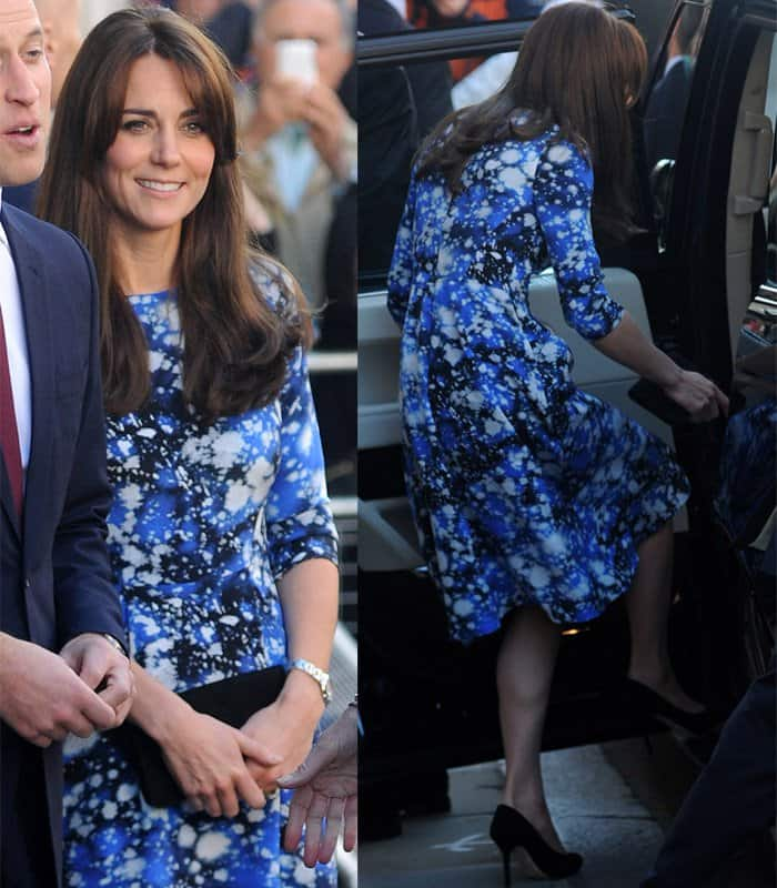 Catherine, Duchess of Cambridge, GCVO wore a bright blue dress by Tabitha Webb, a luxury British brand launched June 2013