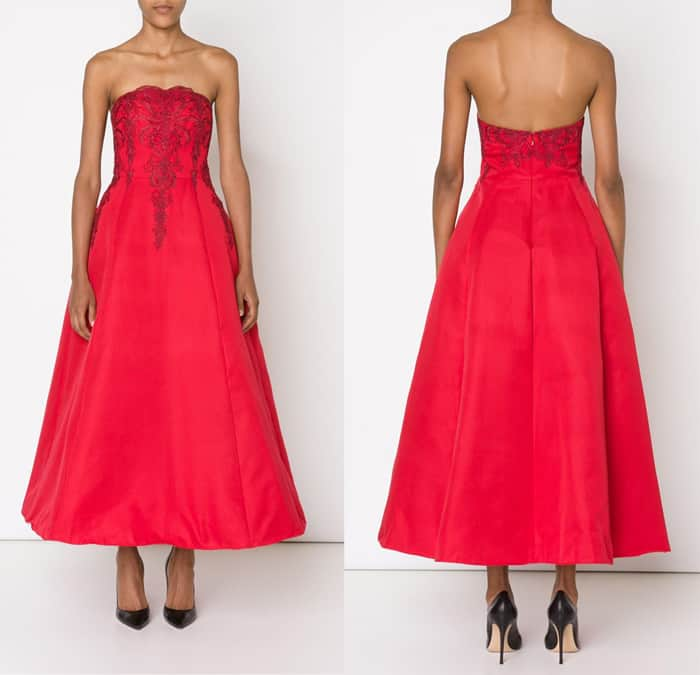 Marchesa Notte Embroidered Strapless Gown