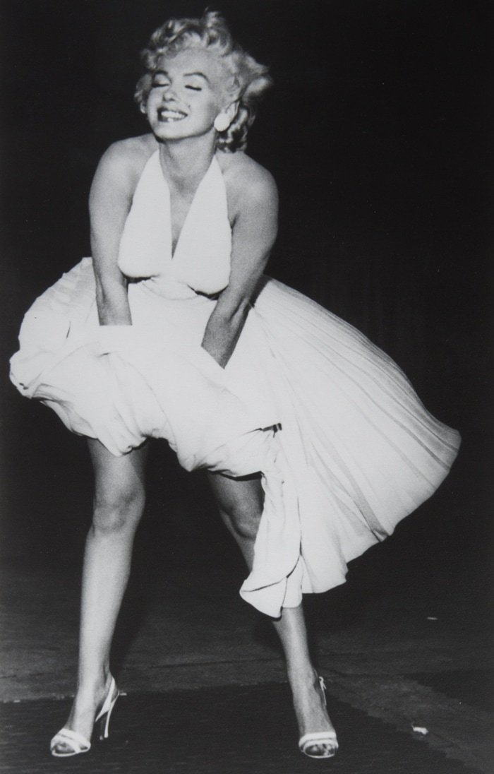 Bruno Bernard's black and white vintage photograph of Marilyn Monroe taken on the set of The Seven Year Itch
