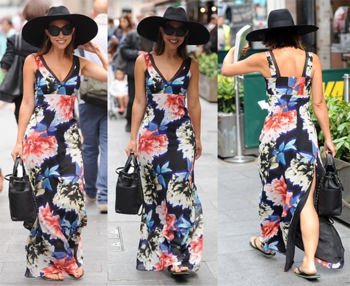 Myleene Klass styled her floaty floral maxi dress with a wide-brimmed hat