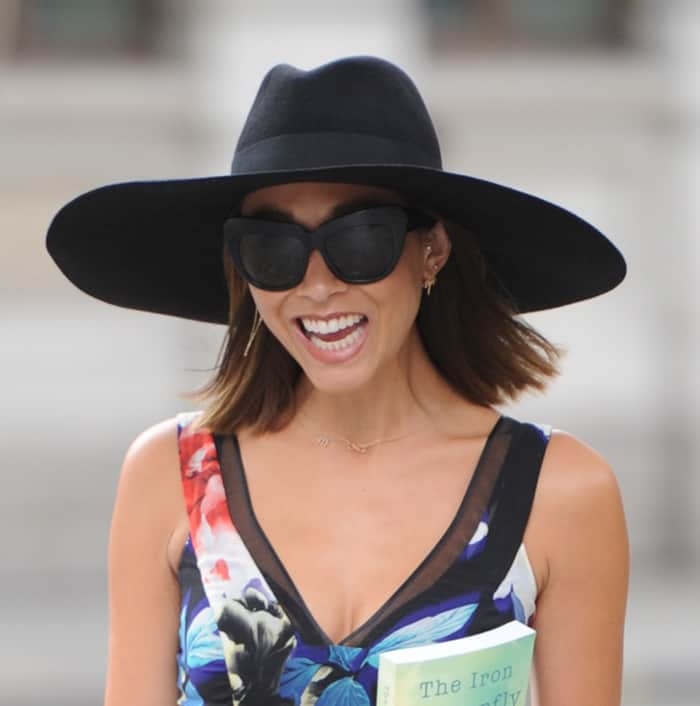 Myleene Klass at Smooth Radio holding her father Oscar Klass's book 'The Iron Butterfly' in London